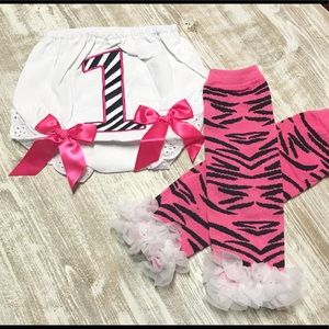 First Birthday Outfit- diaper cover/leg warmers